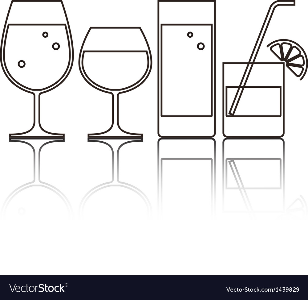 Wine beer cocktail and water gla vector