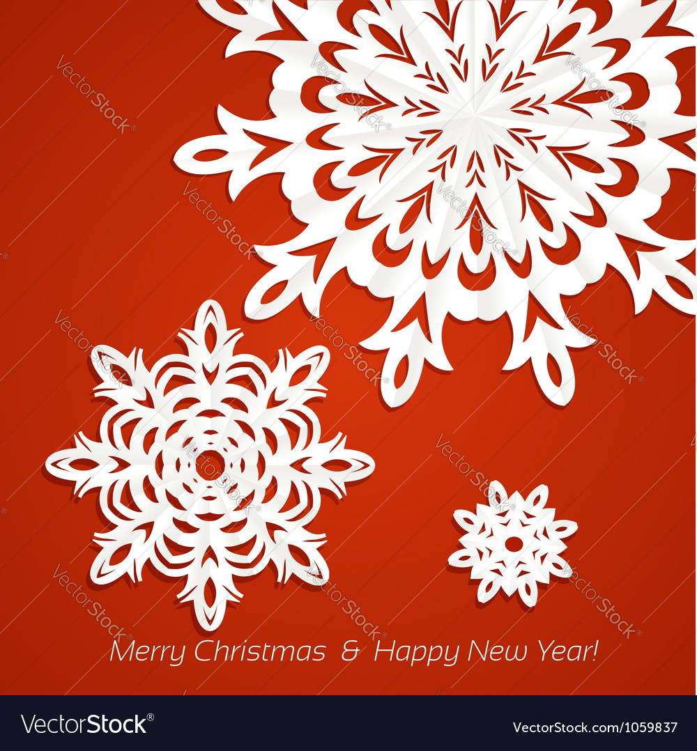 Applique snowflakes christmas card vector