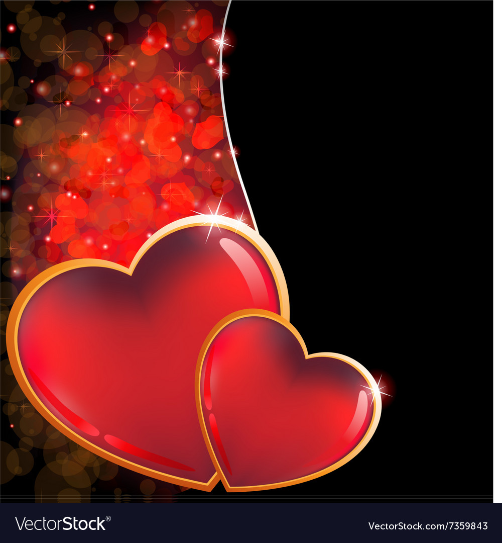 Valentines day background with two hearts