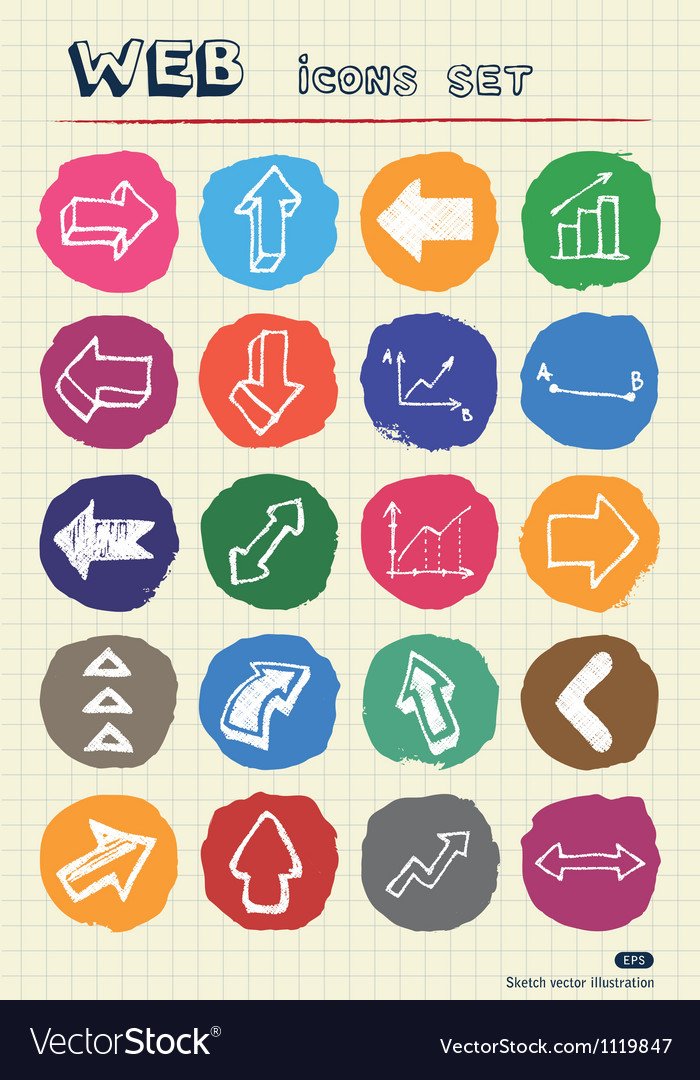 Arrows web icons set drawn by chalk vector