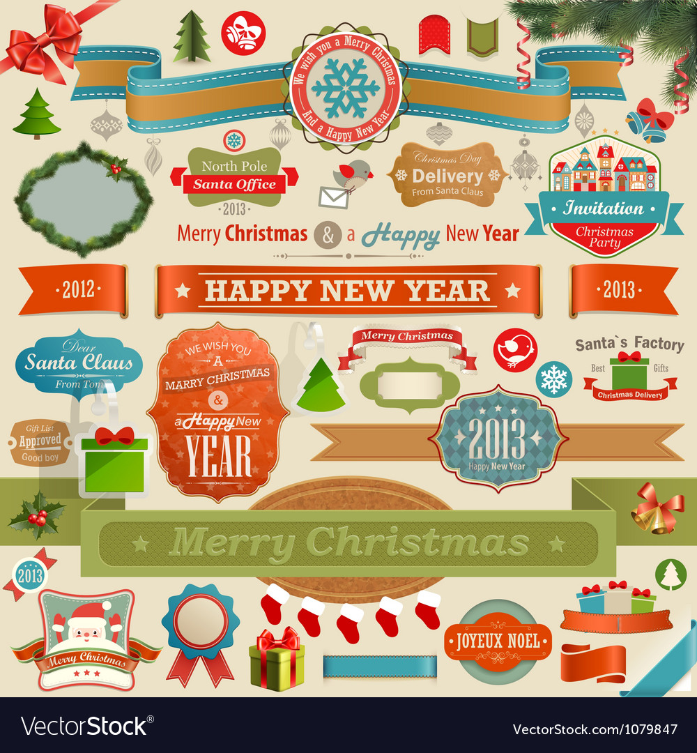 Christmas set  vintage ribbons vector