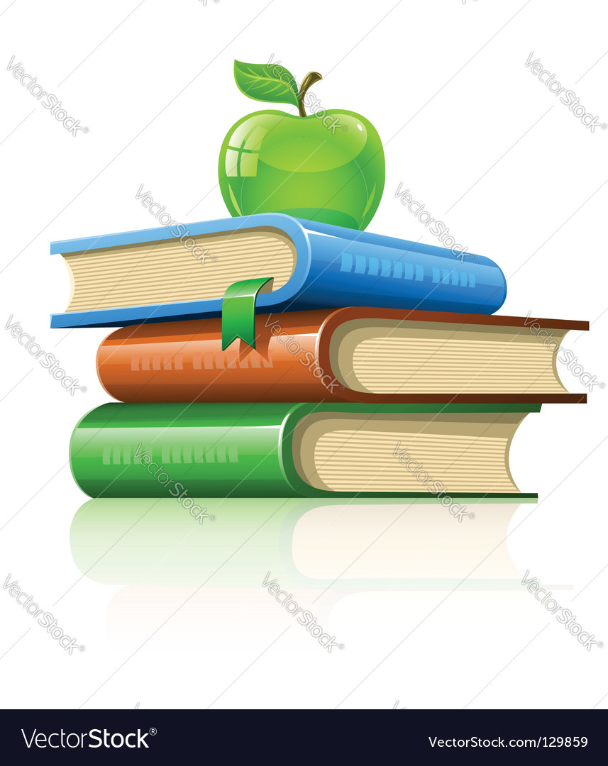 Pile book with green apple vector