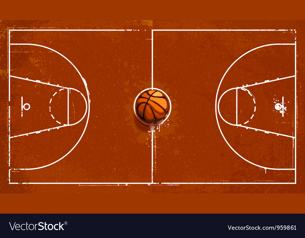 Grunge basketball playground vector