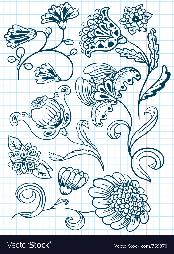 Floral abstract doodle set vector