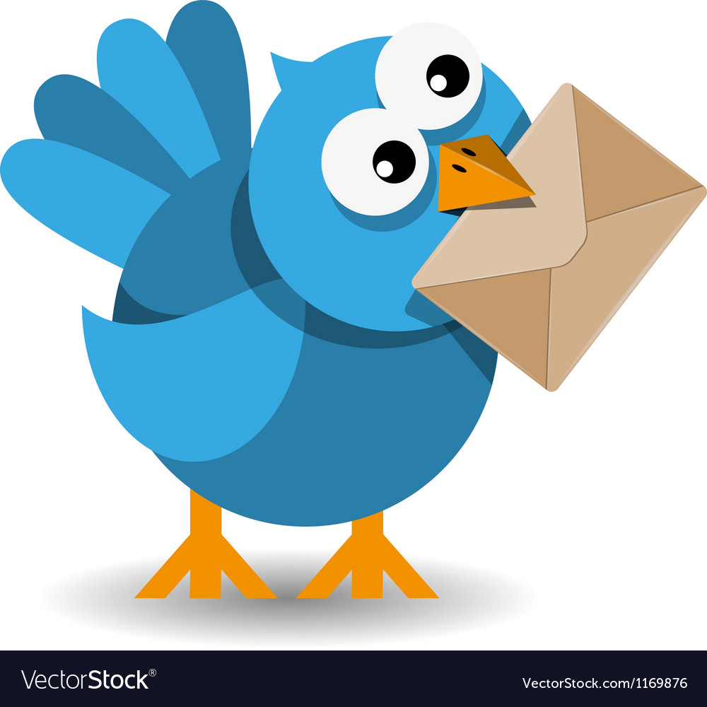 Blue bird with a paper envelope vector