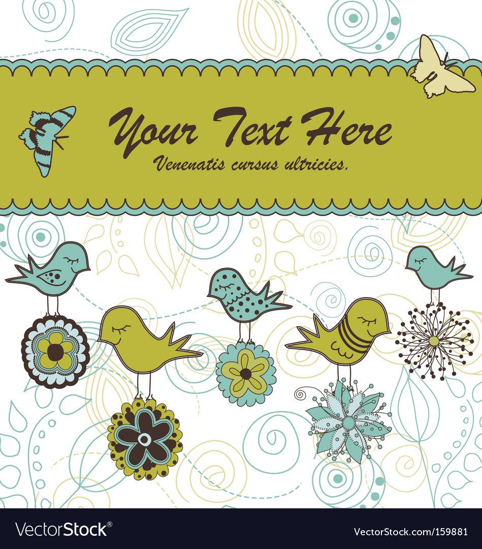 Floral card with birds vector