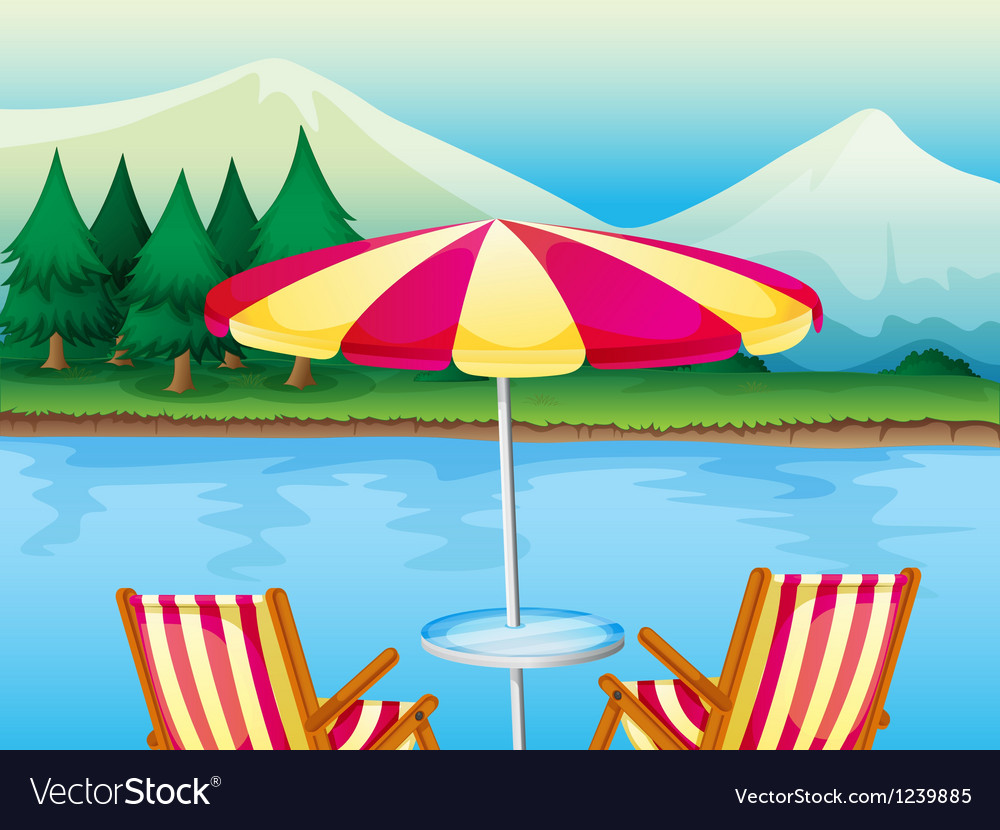 A beach umbrella with chairs vector
