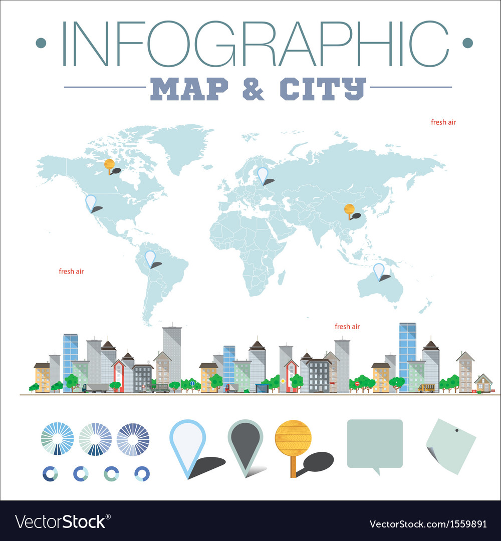 Infographic map and city vector