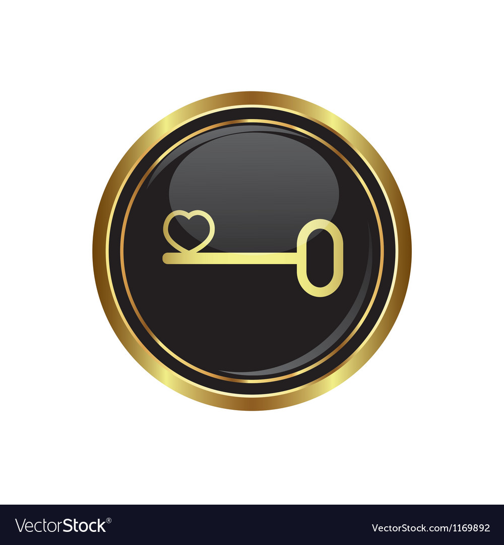 Key icon with heart vector