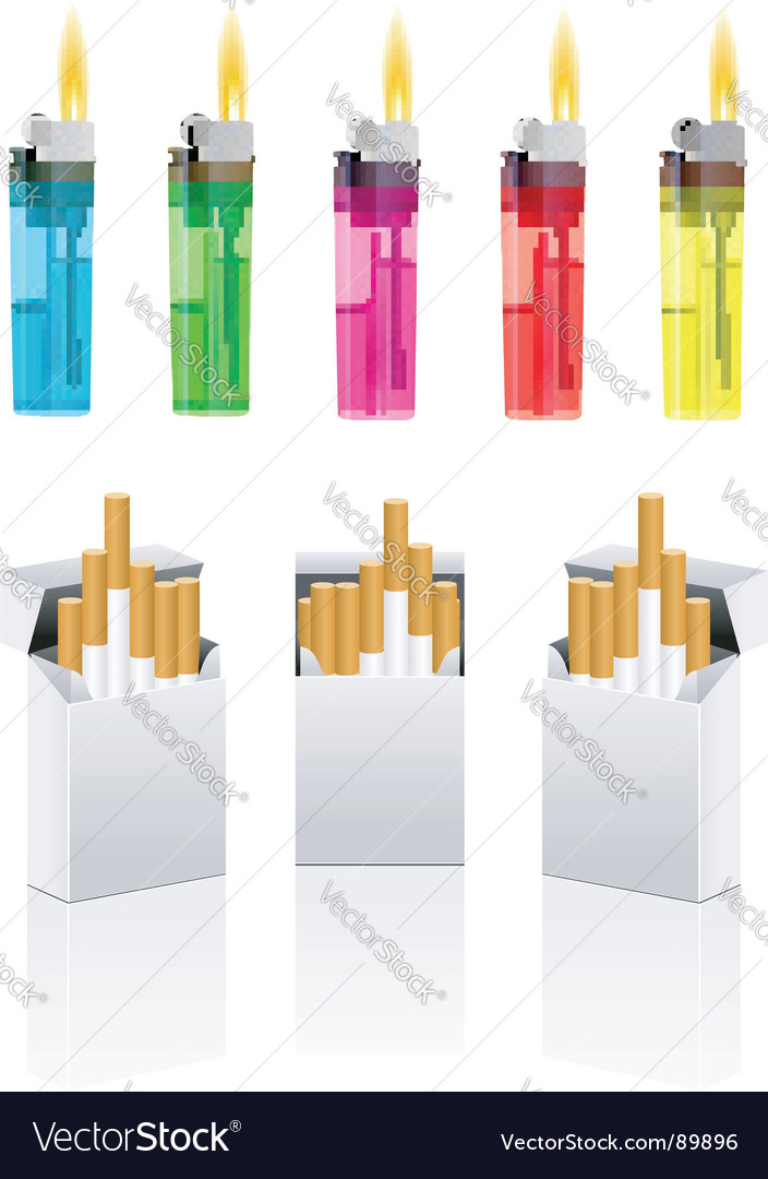 Cigarettes and cigarette lighter vector