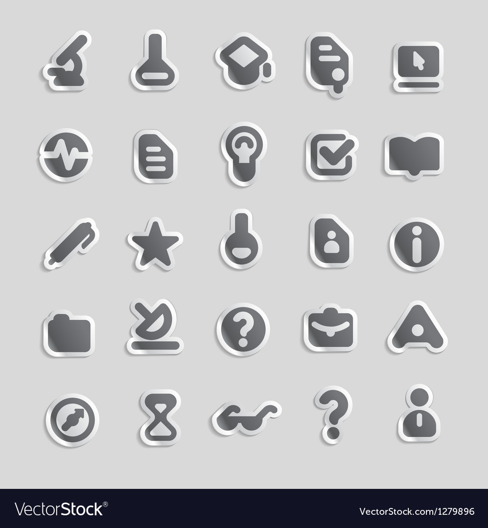 Sticker icons for education vector