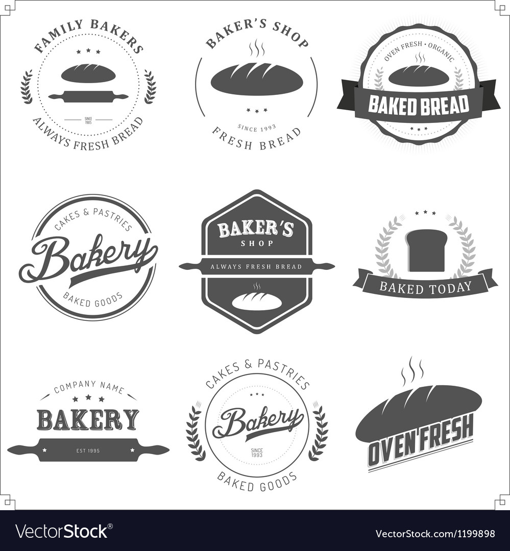Set of vintage bakery labels and design elements vector