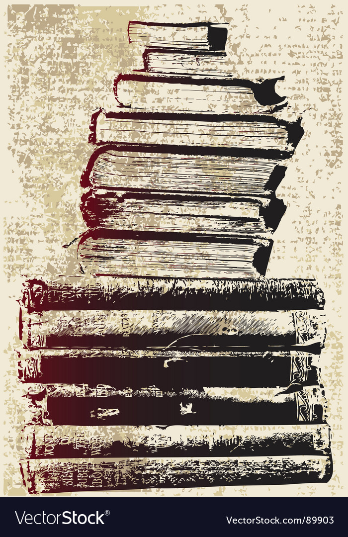 Grunge book stack vector