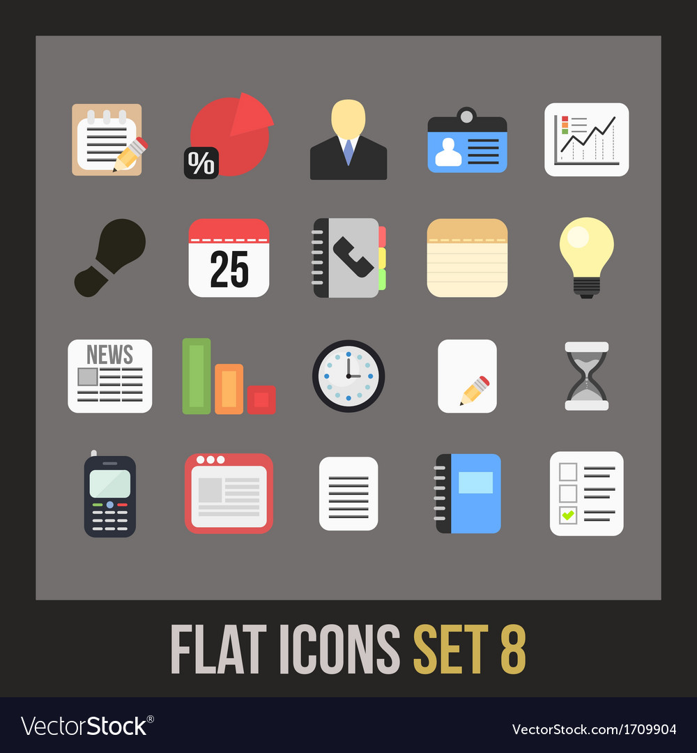 Flat icons set 8 vector