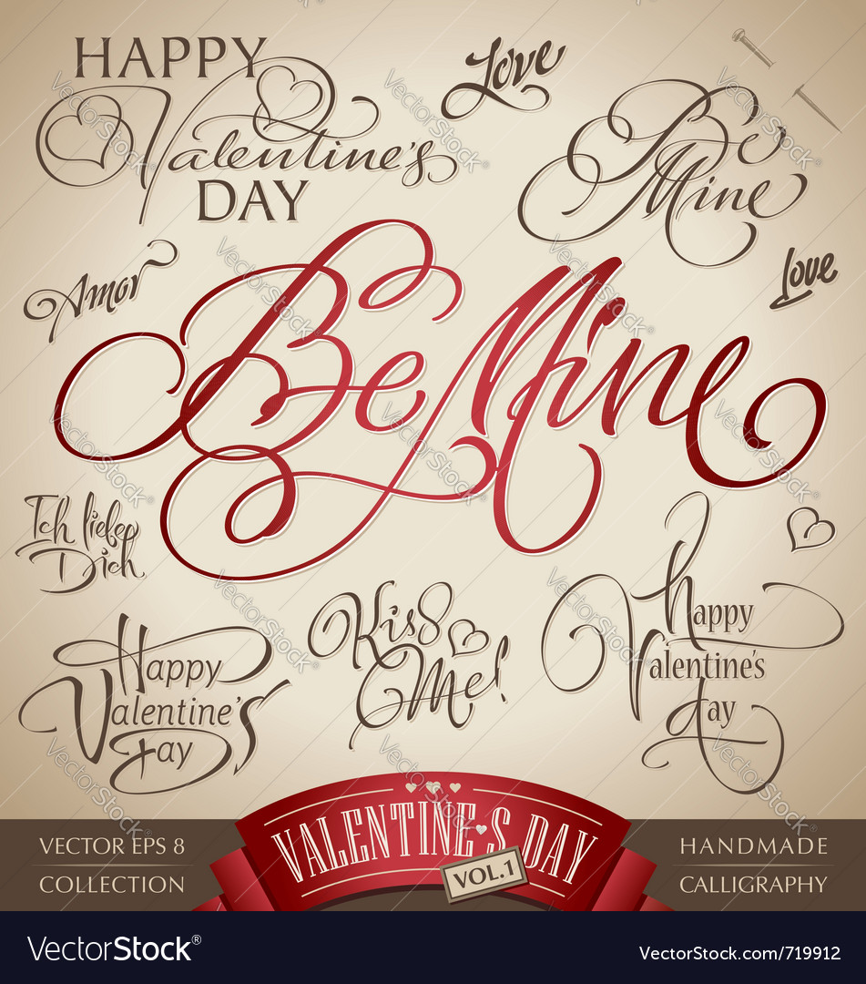 Valentines hand lettering set vector