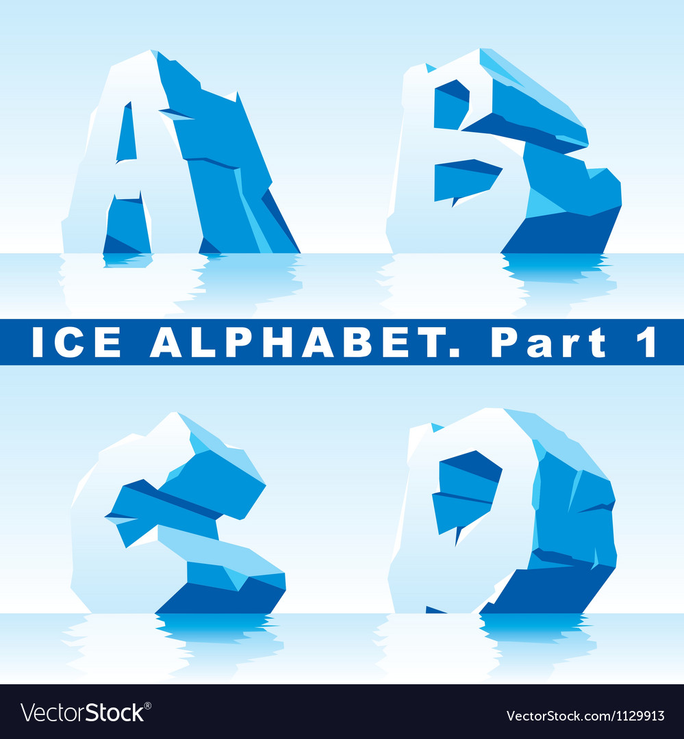 Ice alphabet 01 vector