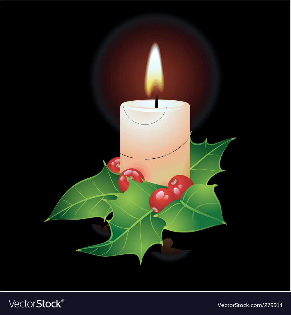 Christmas candle and ho vector