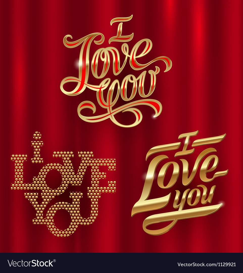 I love you  golden decorative lettering vector