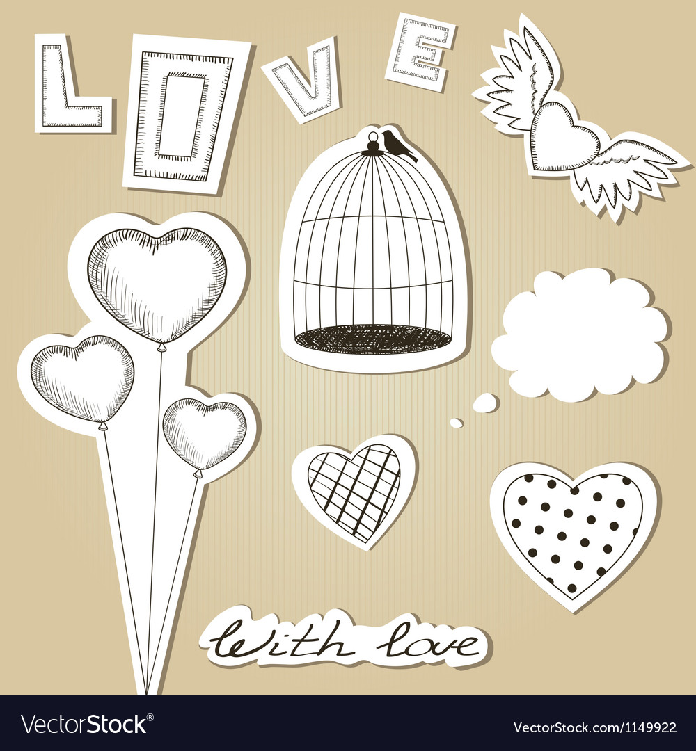 Handdrawn scrap valentines day design elements vector