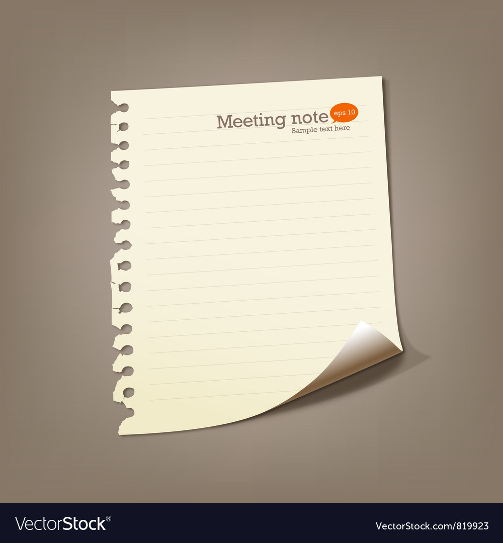 Paper meeting note vector