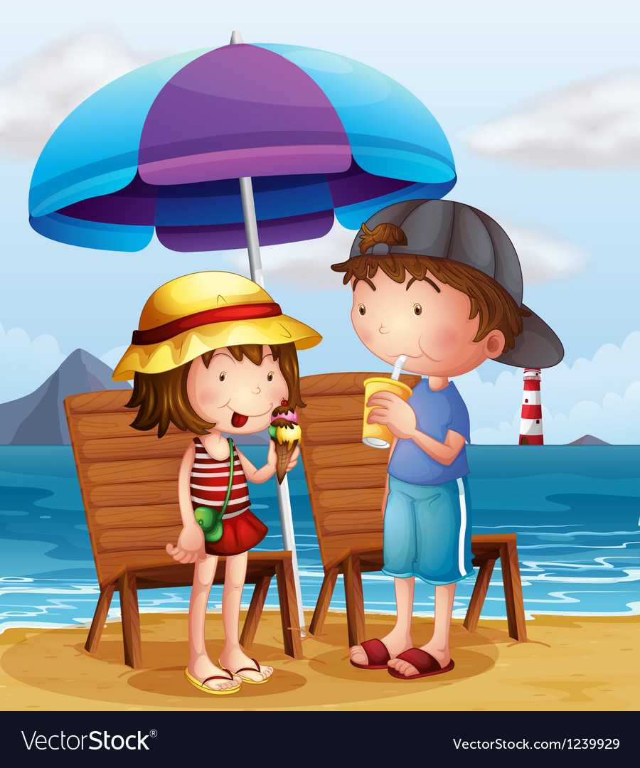 Two kids at the beach near the wooden chairs vector