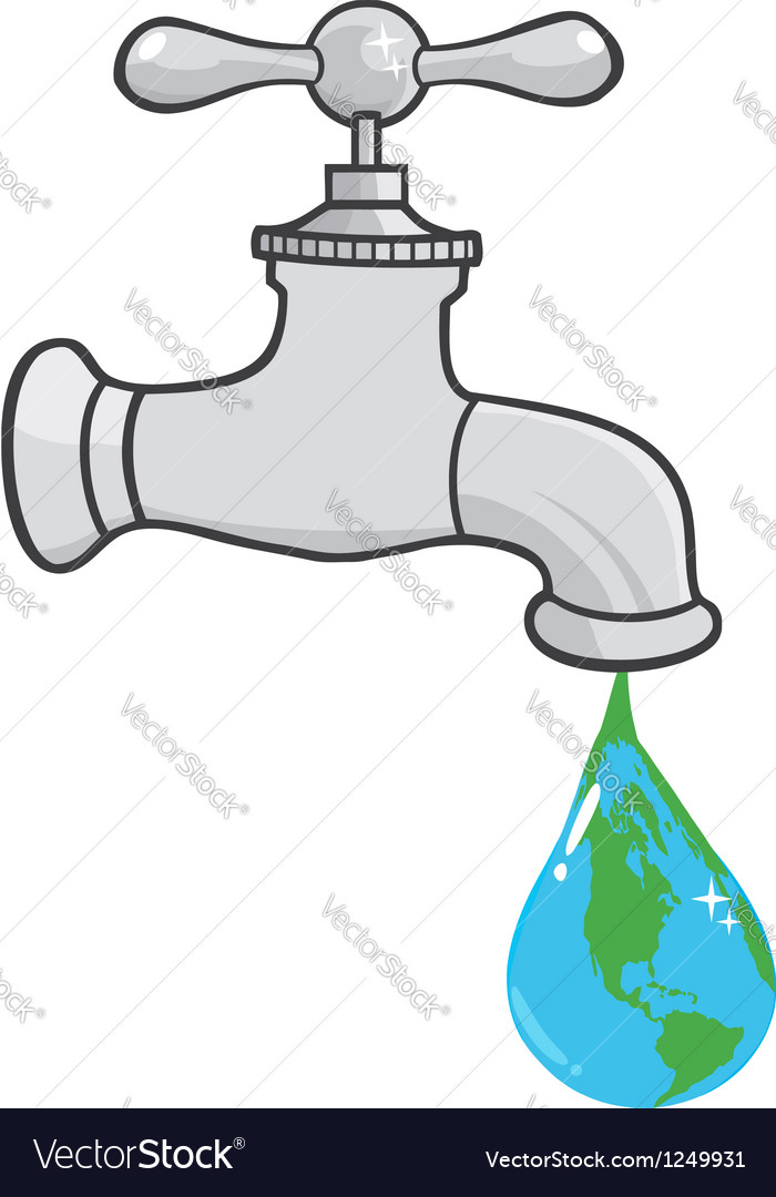 Leaking faucet the earth planet droplet vector