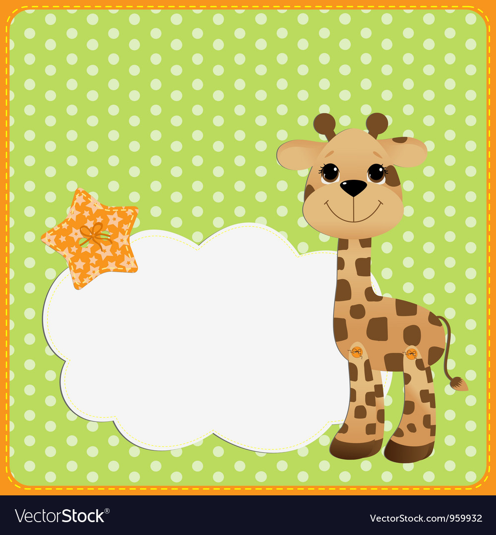Cute teplate for postcard with giraffe vector