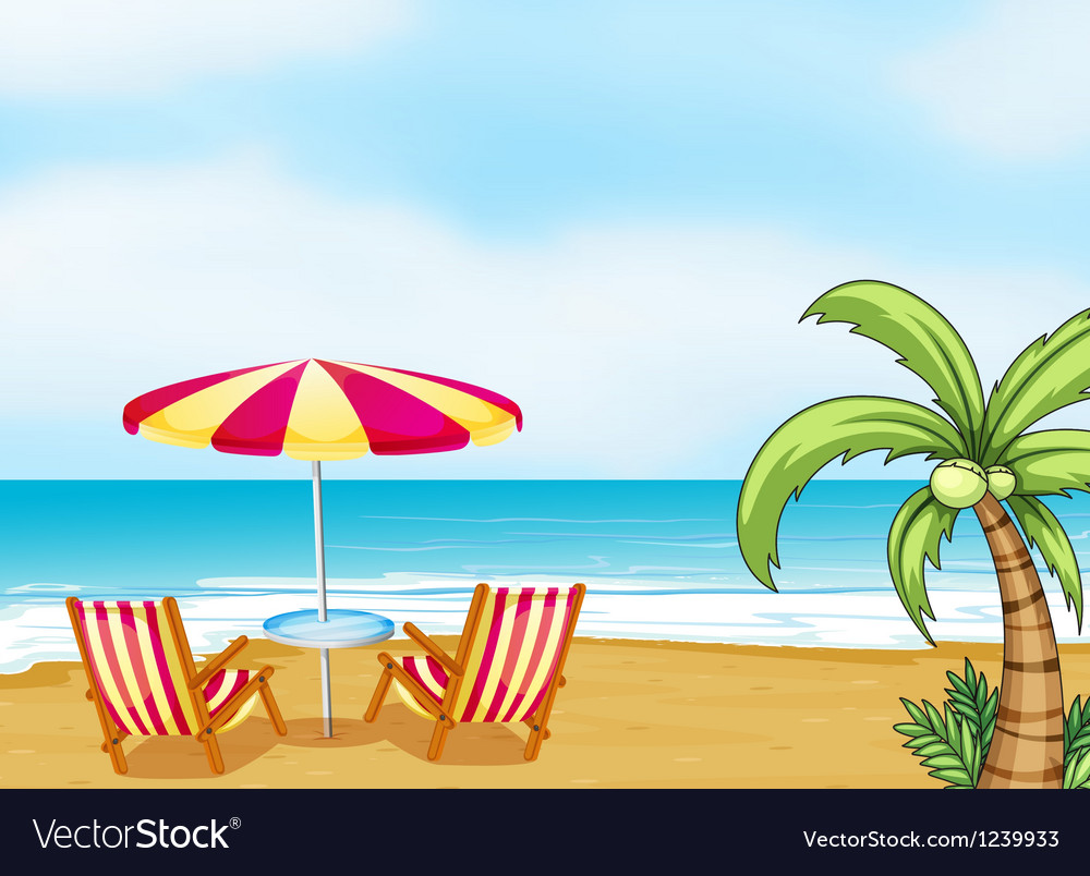 Beach with an umbrella and chairs vector