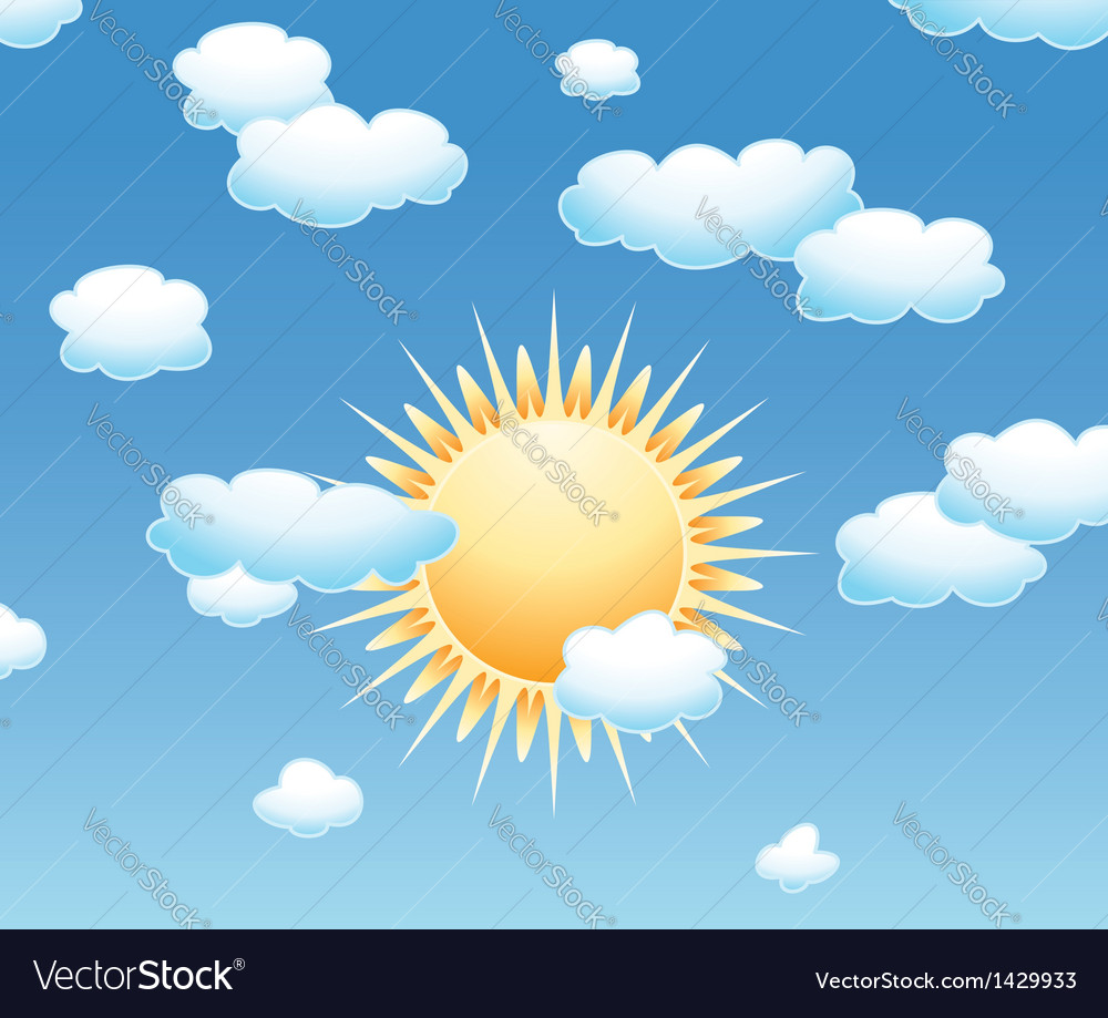 Clouds and sun in the sky vector