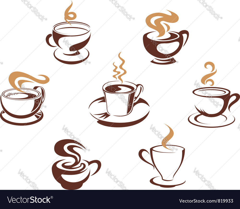 Coffee and tea cups vector
