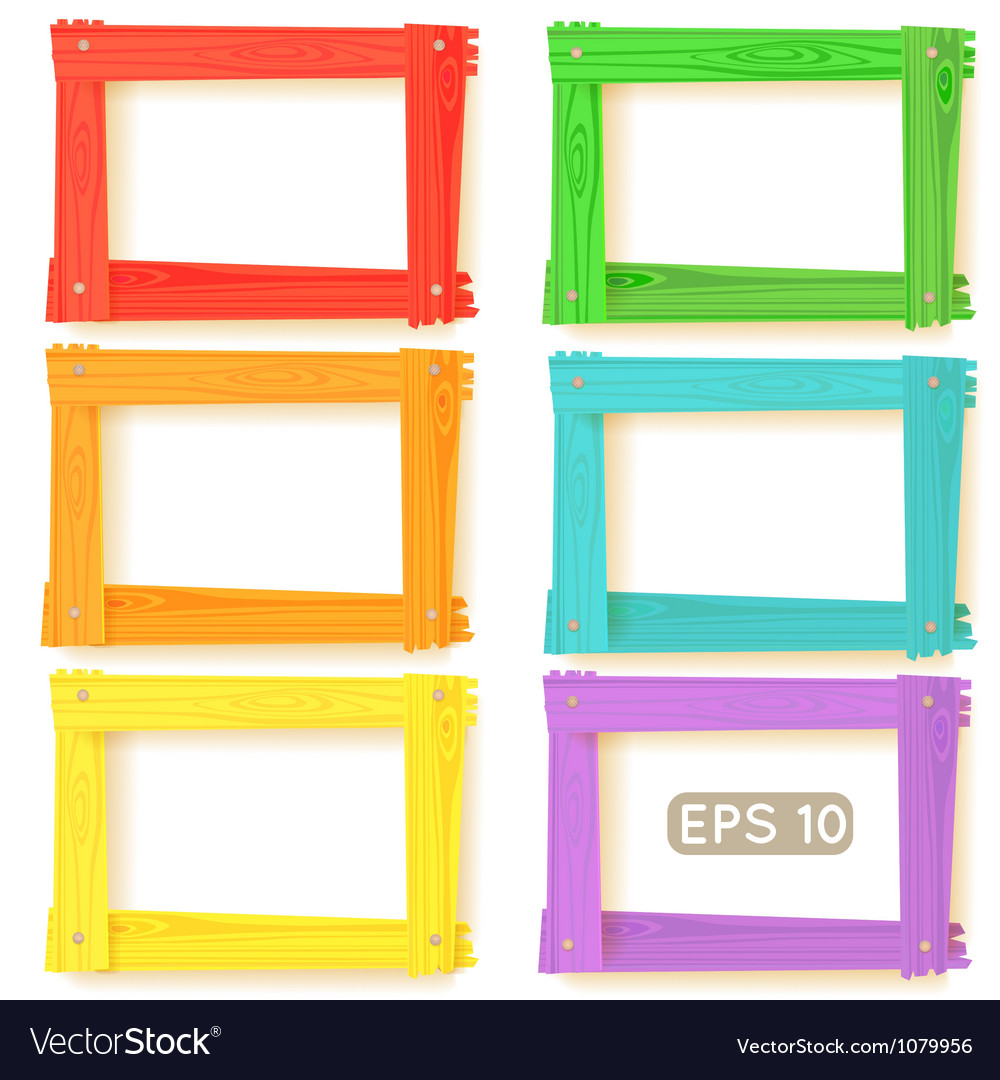 Wooden picture frames color set vector