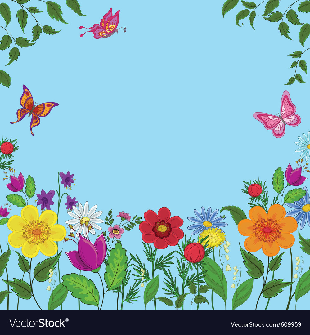 Flowers butterflies vector