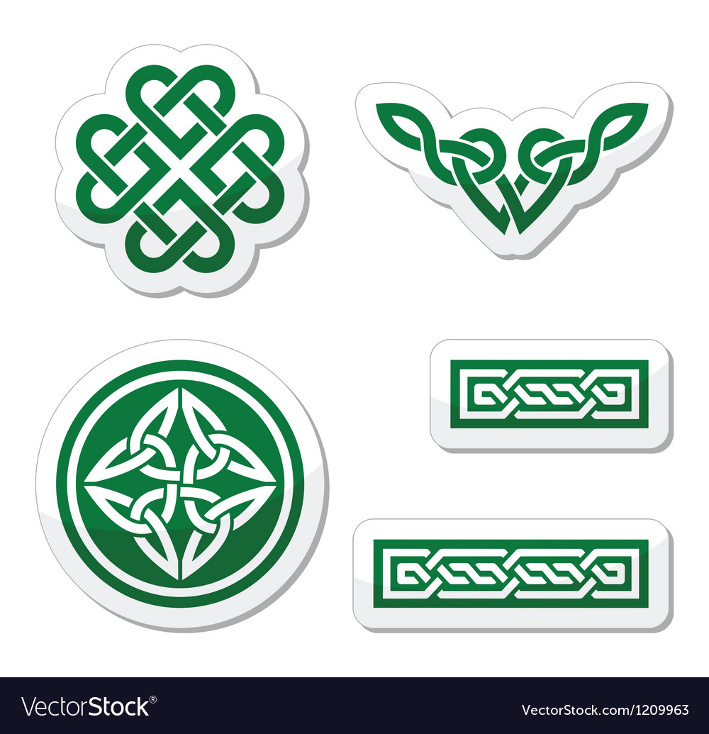 Celtic green knots braids and patterns  vector