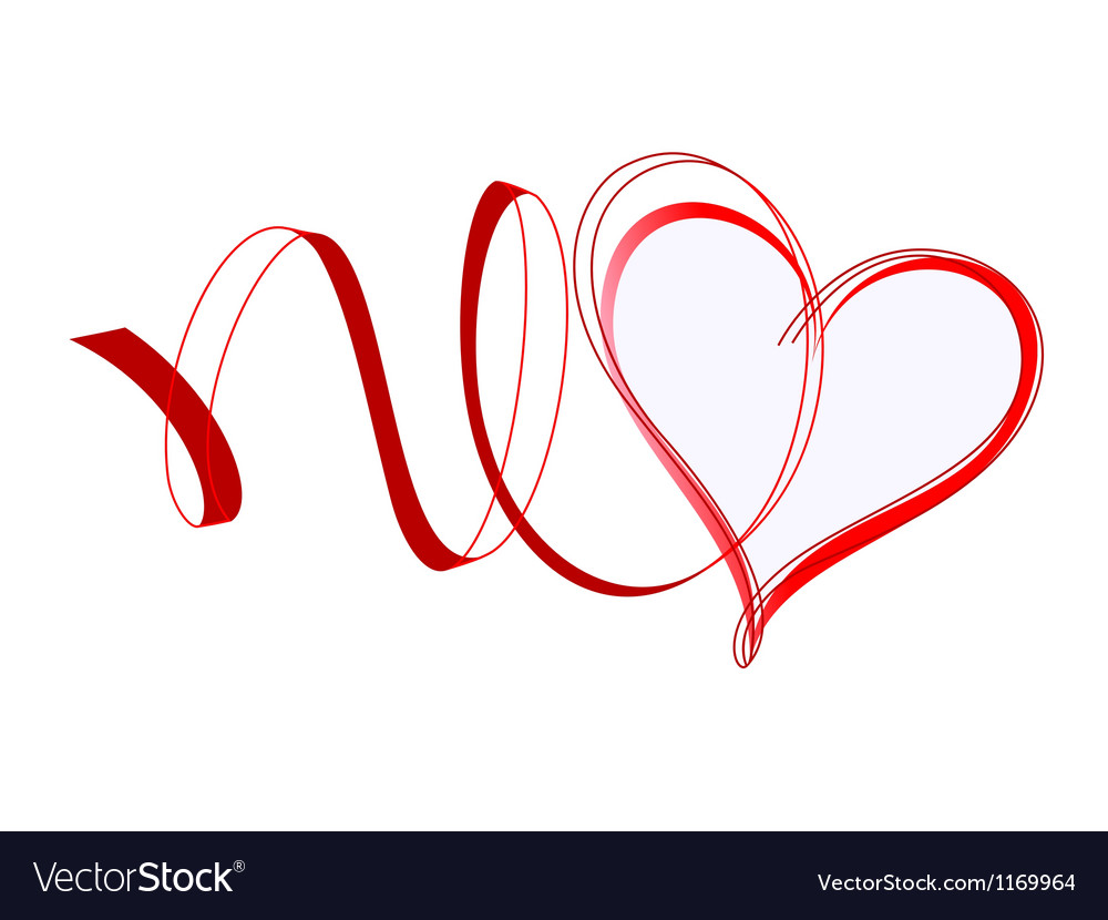 Heart with ribbons vector