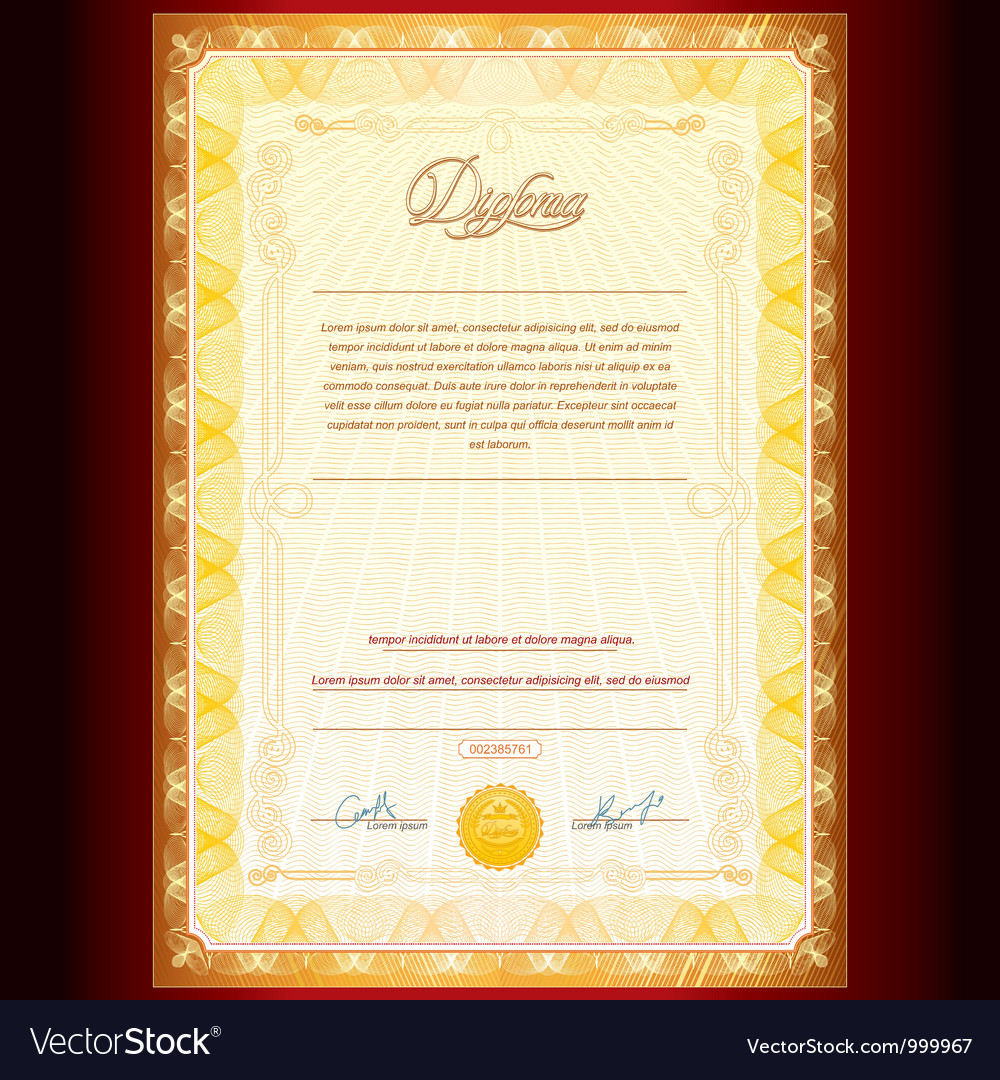 Royal golden diploma vector