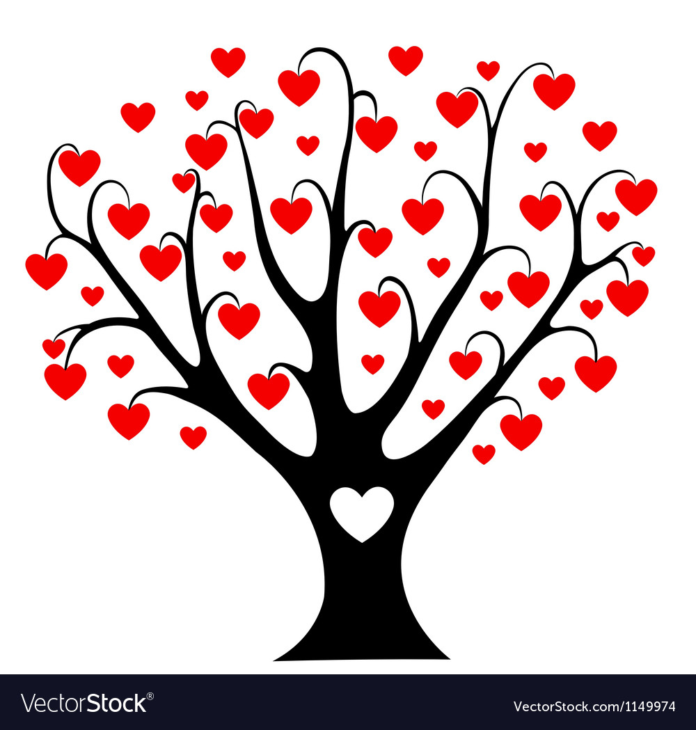 Hearts tree vector