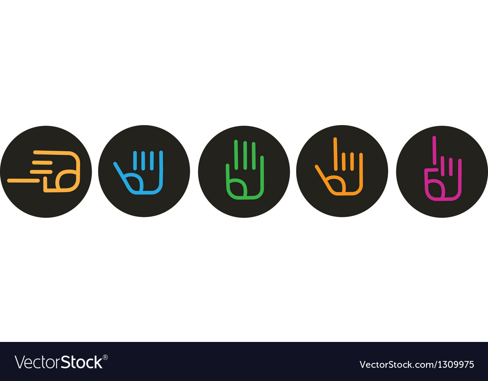 Collection of various hand signs vector