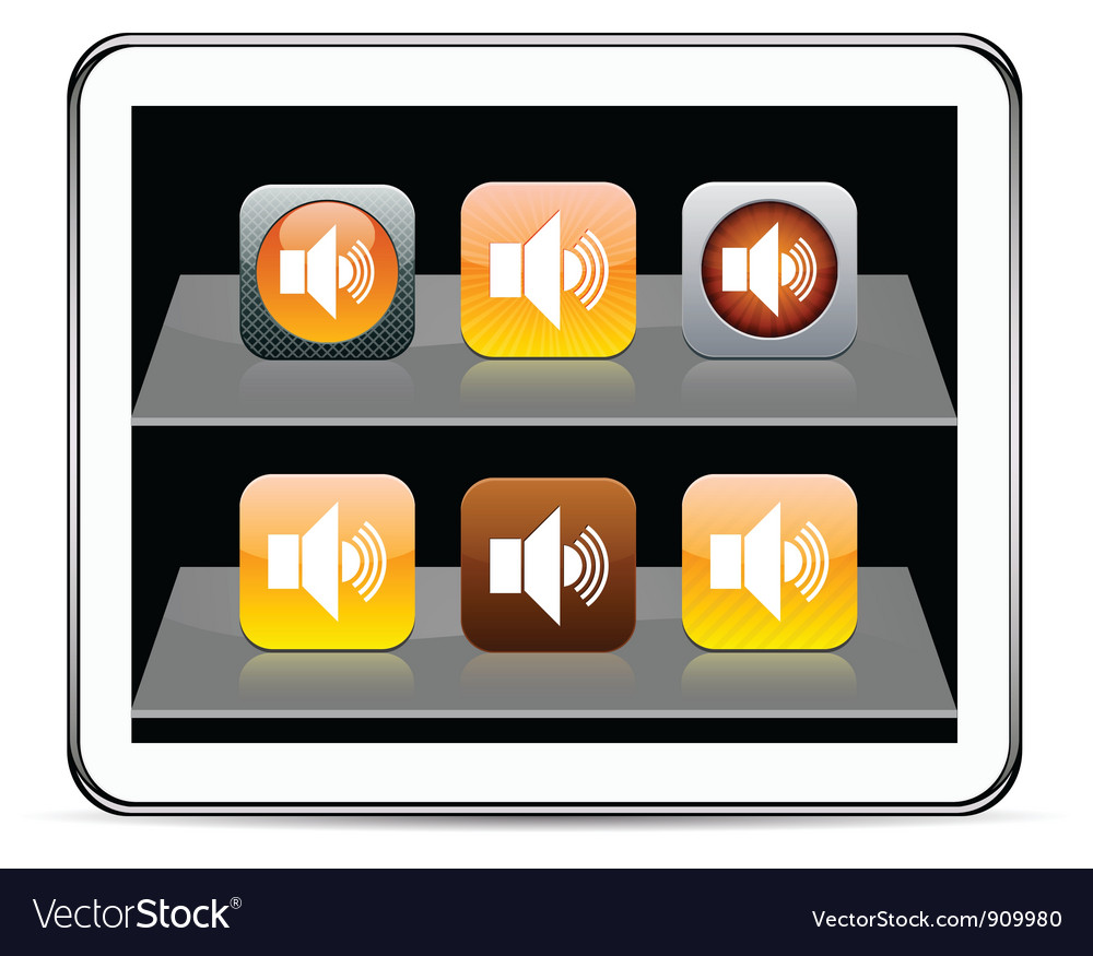Sound orange app icons vector