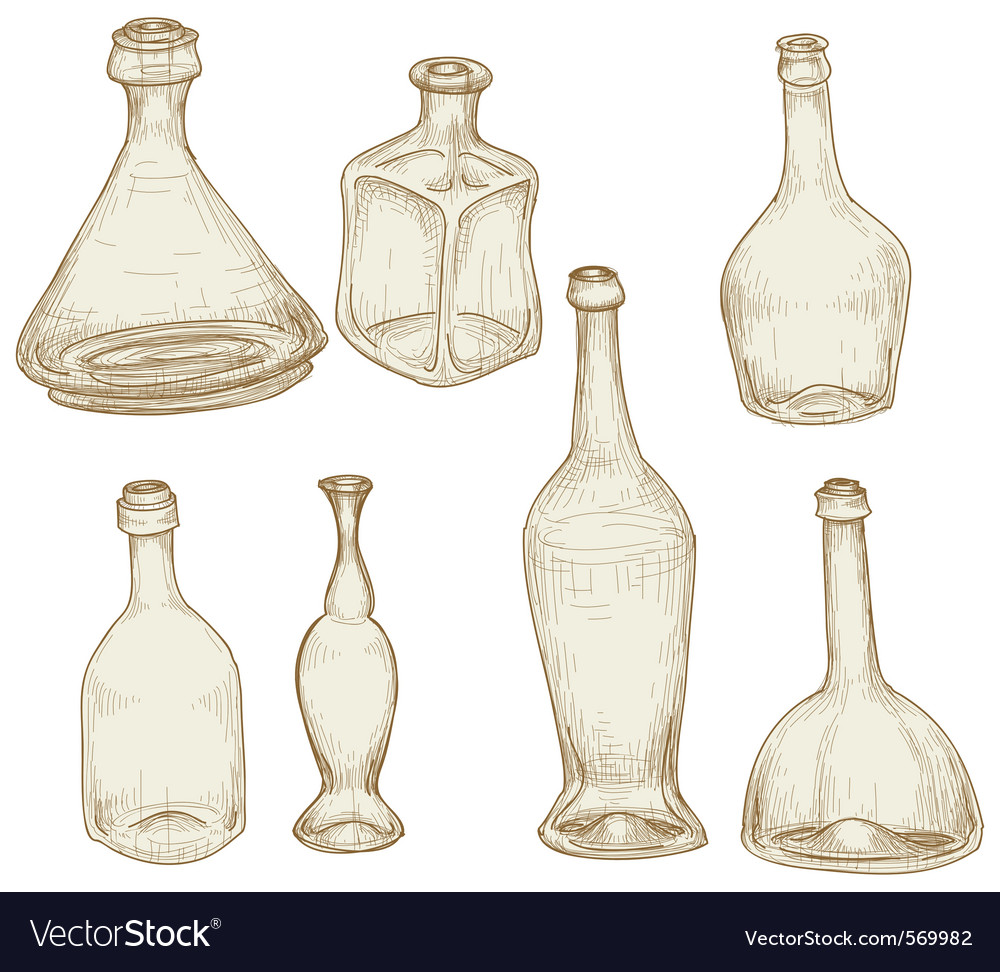 Bottles drawings vector