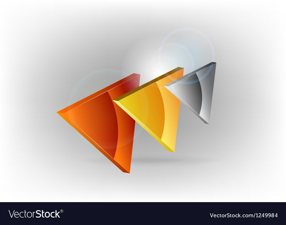 Three colors triangles silver gold bronze vector