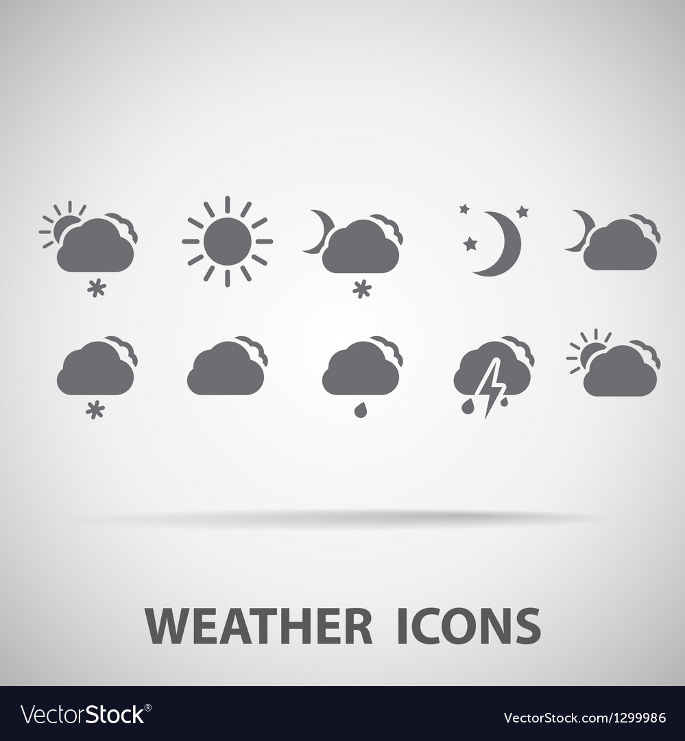 Set of weather icons  silhouette vector