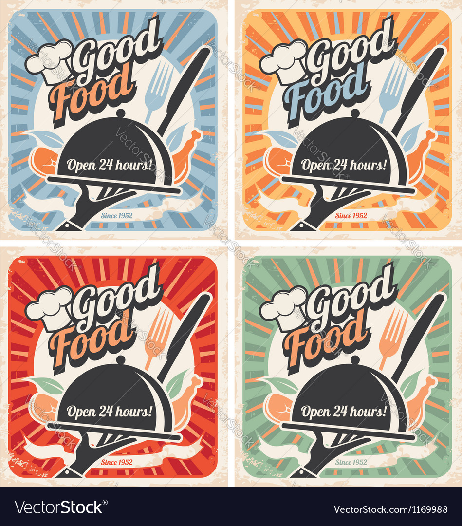 Set of retro restaurant posters vector