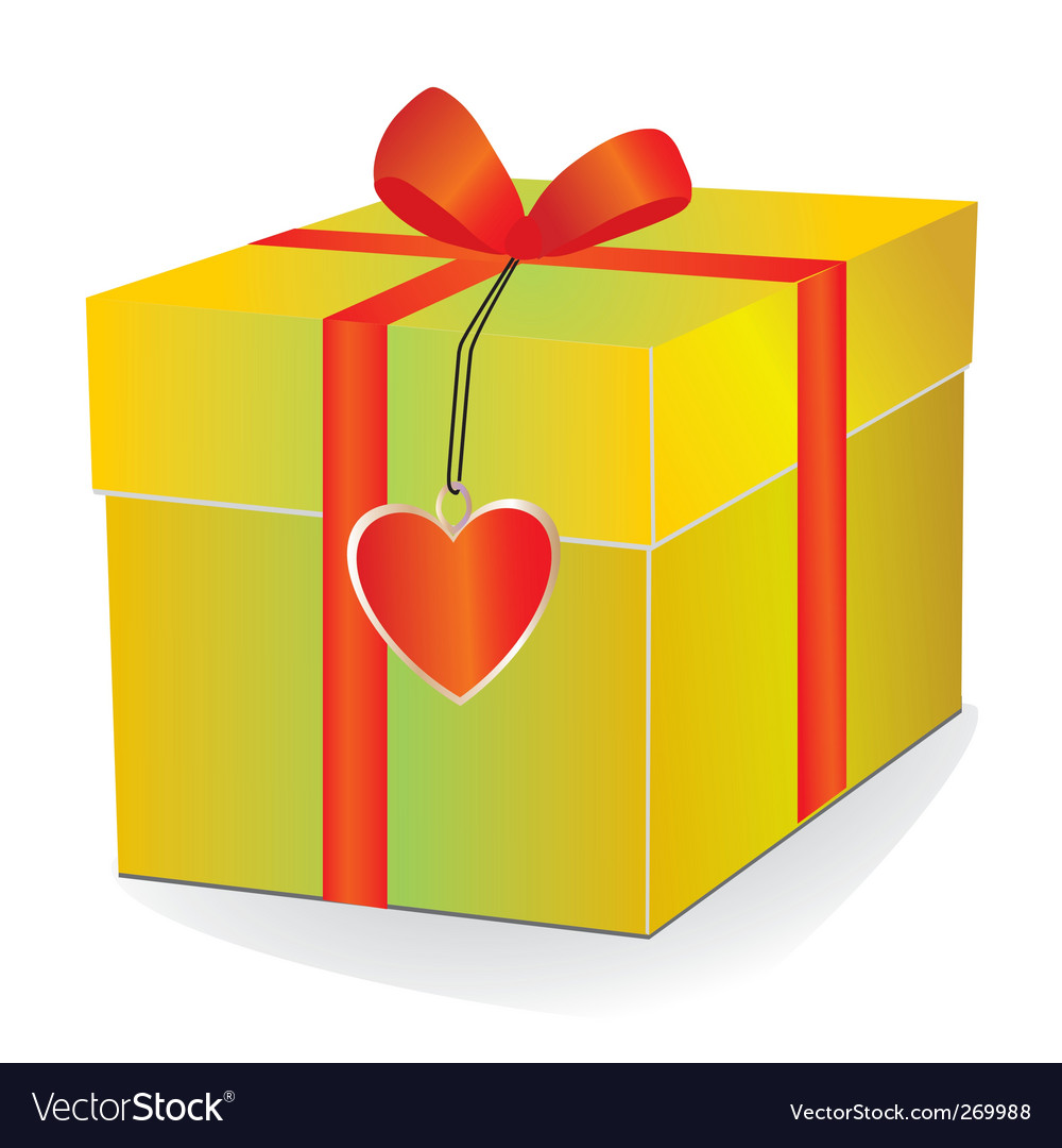 Yellow box with red ribbon vector