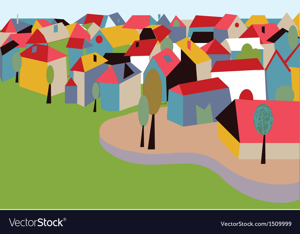 Houses in the town card vector