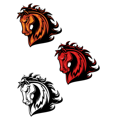 Horse Cartoon Tattoos Vector. Artist: Seamartini; File type: Vector EPS