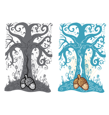 Acorn And Tree Of Life Tattoo Style Il Vector