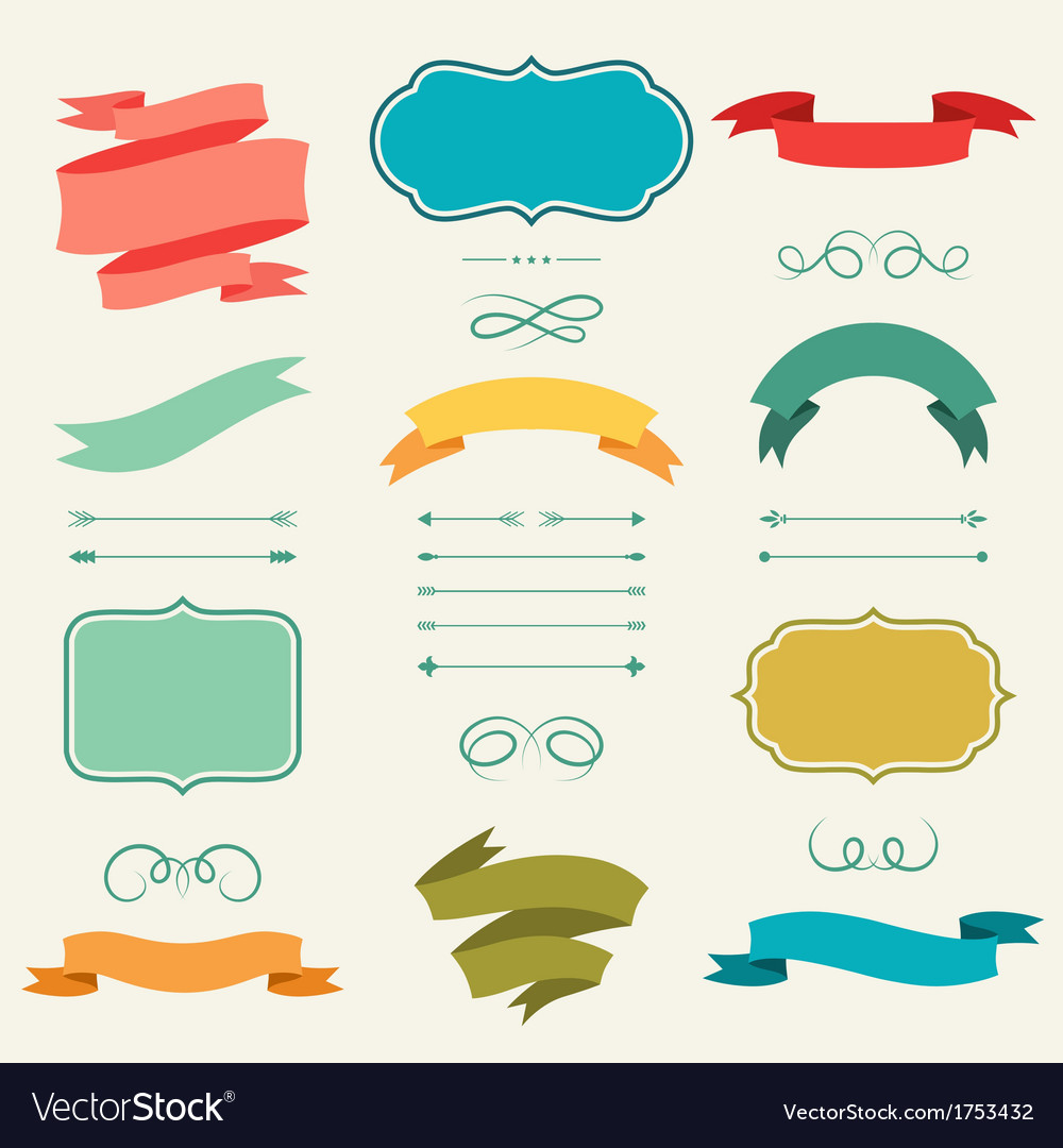 Set-of-romantic-arrows-ribbons-and-labels-in-retro-vector