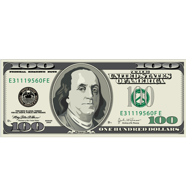 100 Dollar Bill Vector. Artist: mike301; File type: Vector EPS