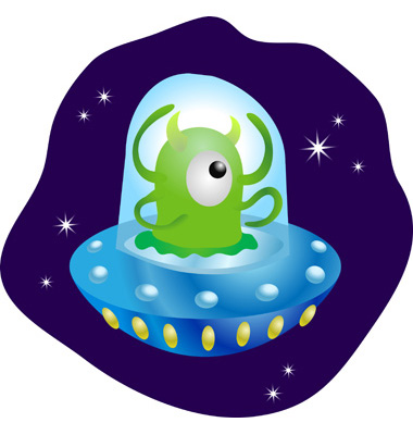 Alien In Spaceship Vector