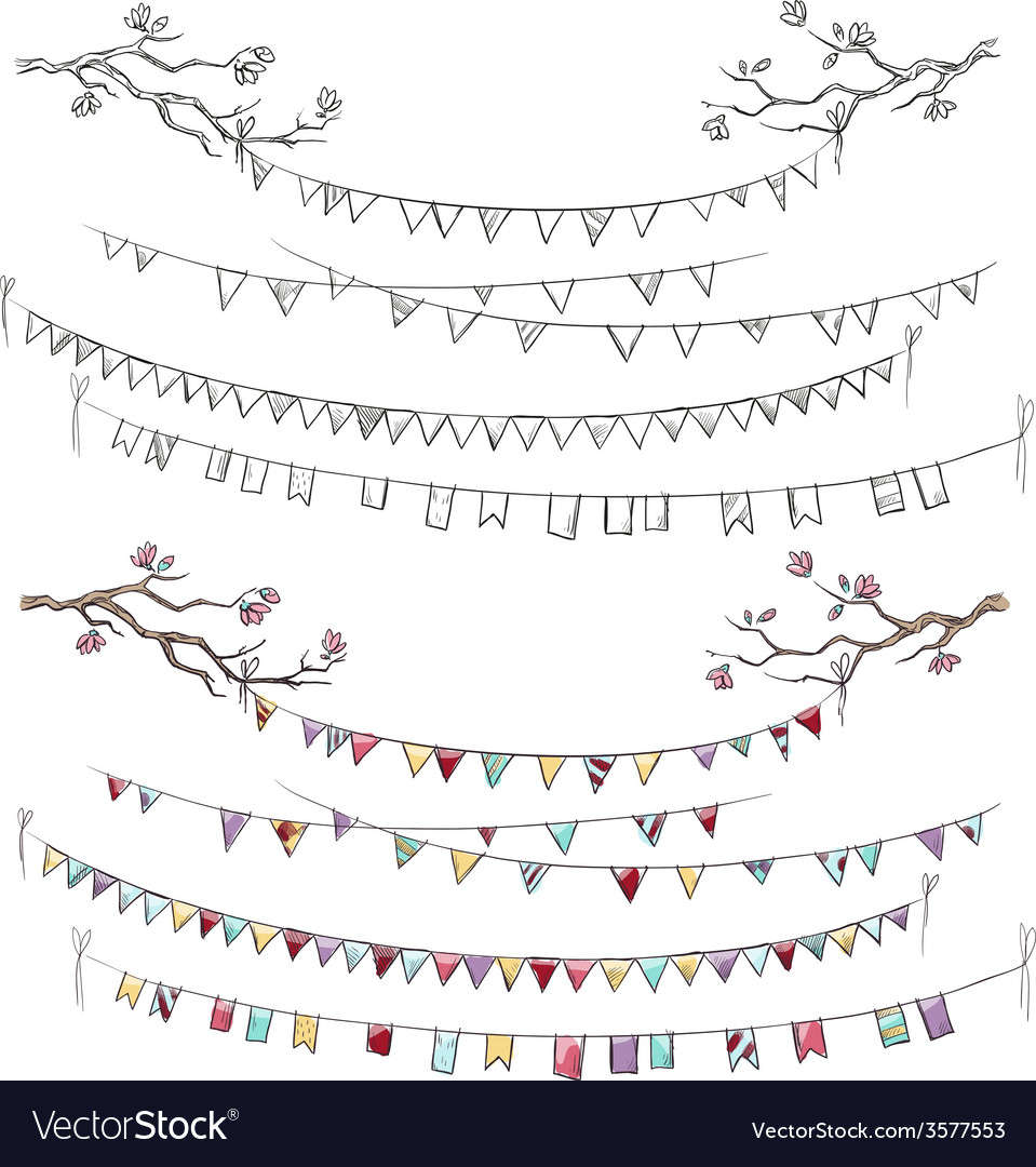 Doodle-tree-branches-and-party-flags-vector